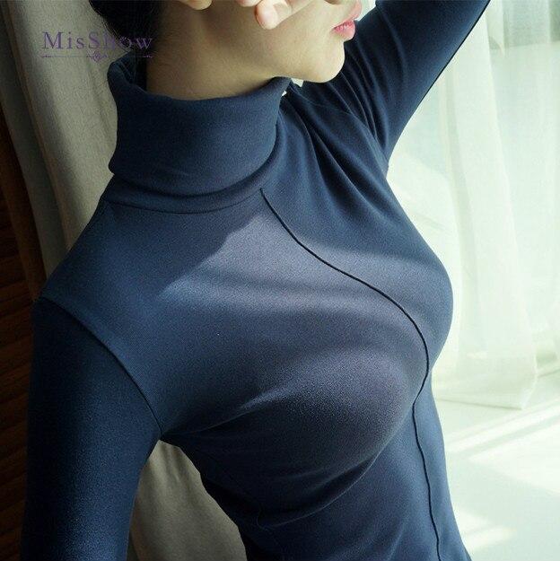 Suéter de mujer de estilo coreano Delgado invierno de cuello alto de las mujeres Bodycon básica manga larga jerseys para mujer abrigo de mujer Top