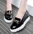 2015 Spring&Autumn Fashion Chains Japanned Leather Platform Creepers Shoes For Woman Elevator Wedge Loafers  US 10.5