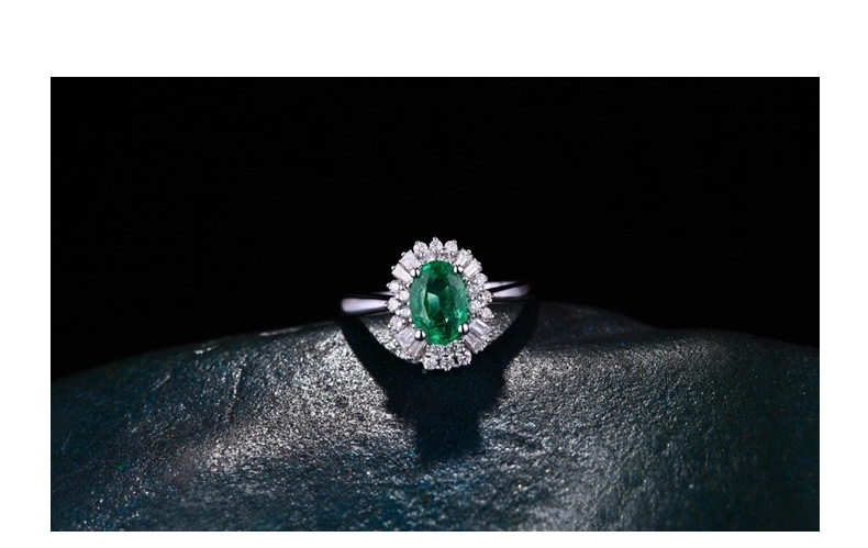 CaiMao 0.8 ct Natural Emerald 18KT/750 White Gold 0.4 ct Full Cut Diamond Engagement Ring Jewelry Gemstone