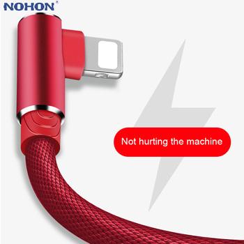 1M 2M 3M 90 stopni USB ładowarka danych szybki kabel dla iPhone X XR XS MAX 5 5S SE 6 S 6 S 7 8 Plus iPad telefon pochodzenie długi przewód ładowania tanie i dobre opinie Nohon LIGHTNING 2 4A CN (pochodzenie) NYLON USB A Złącze ze stopu 90 Degree L Type Charging Cable Black Blue Gray Red white