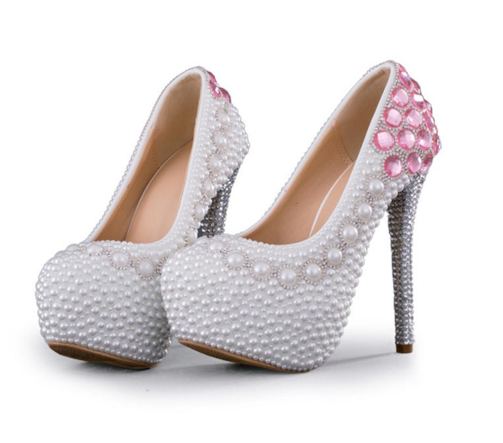 High heels 14cm Pearl water drill super high heels bride shoes women s singles shoes