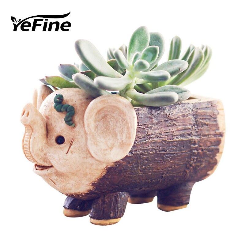 YeFine Crafts Resin Flower Pots Cute Pig And Elephant Succulent Plants Pots Cartoon Gifts For Childrens Home Decor Bonsai Pot