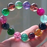 Certificate Natural Colorful Tourmaline 14mm Crystal Big Round Beads Bracelet Bangle Stretch Healing Stone AAAAAA