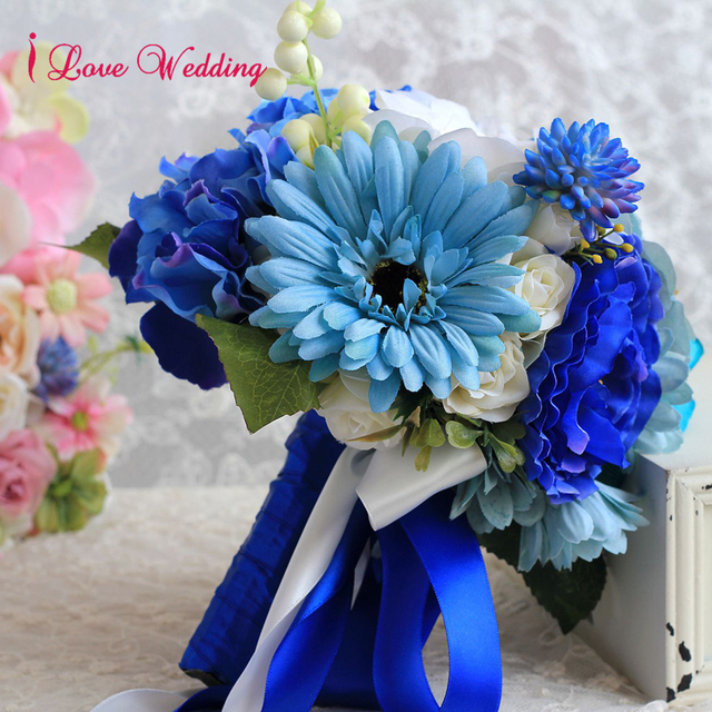 Blue artificial wedding bouquets handmade bridal accessories blue artificial wedding bouquets handmade bridal accessories beautiful silk flowers for bride 1 piece free shipping mightylinksfo Images