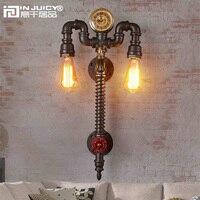 Ретро промышленных часы металлические водопроводные трубы стимпанк E27 Edison Настенные светильники Винтаж кованого железа Настенные светиль