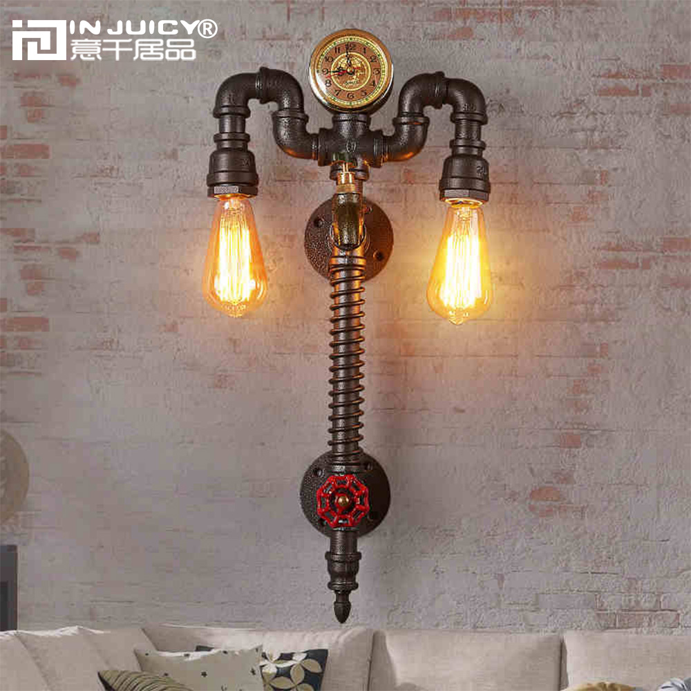 Retro Industrial Clock Metal Water Pipe Steampunk E27 Edison Wall Lights Fixtures Vintage Wrought Iron Wall Lamps Sconces Cafe