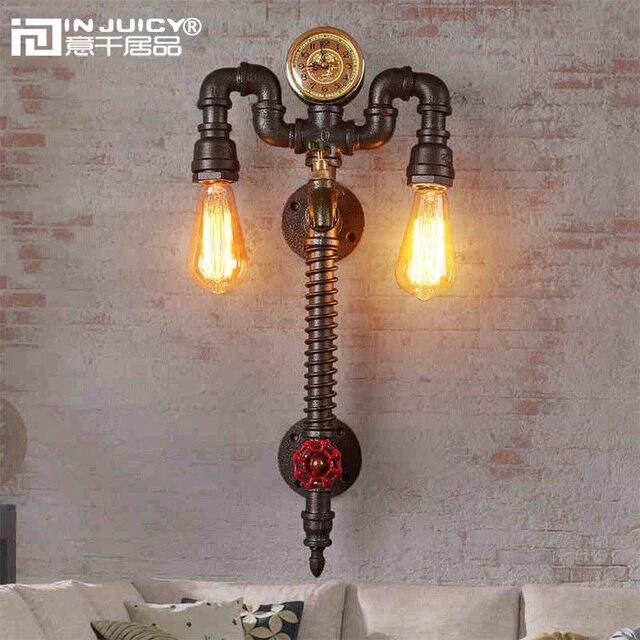 Retro Industrial Clock Metal Water Pipe Steampunk E27