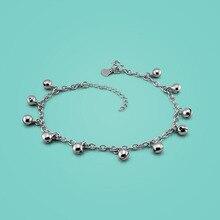 Señora 925 cadenas de plata esterlina tobilleras, diseño simple de la campana colgante, Moda mujer cadenas de plata, de plata de la mujer joyería de pie