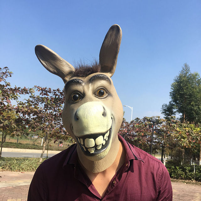 a6bfd7b7b80e Funny Adult Creepy Funny Donkey Horse Head Mask Latex Halloween Animal  Cosplay Zoo Props Party Festival Costume Ball Mask