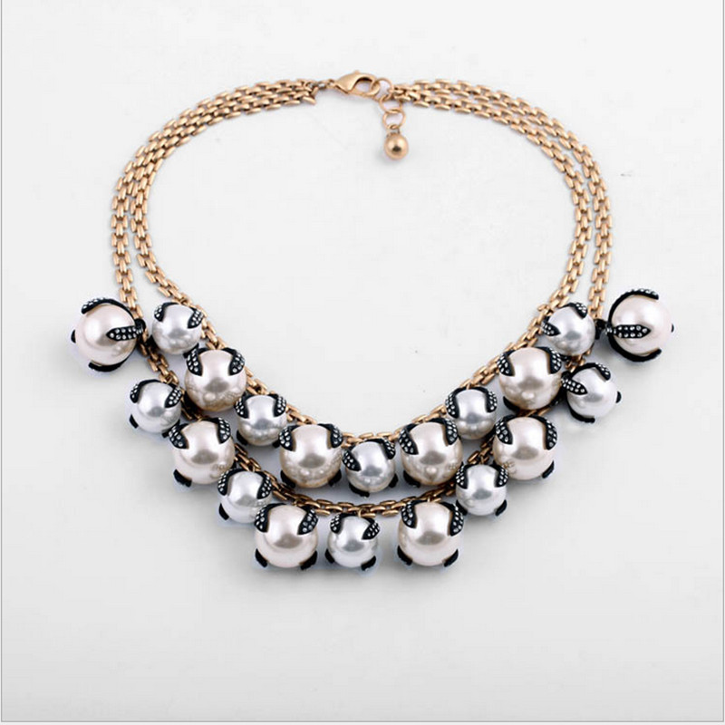 Luxcious doublelayers sterling pearl crystals necklace high quality sweater chain jewelery brand chain necklace for ladies