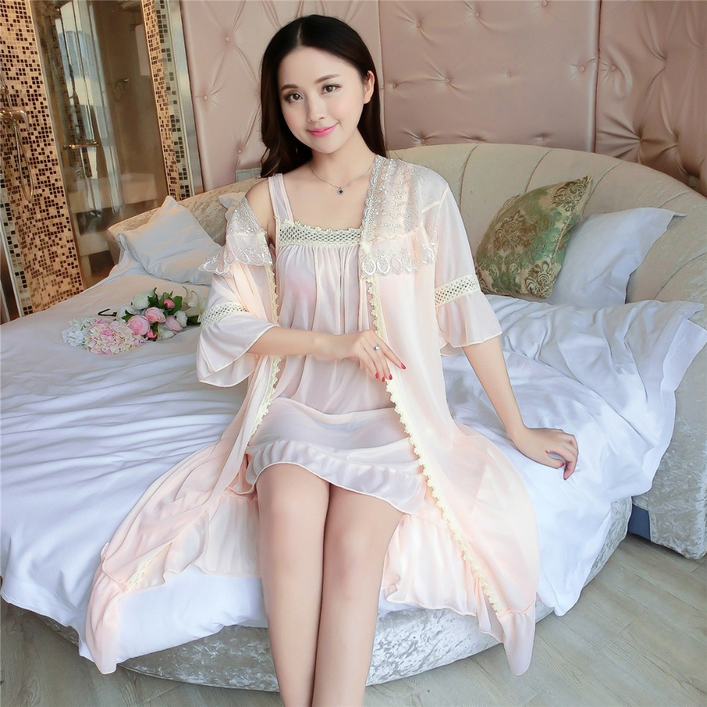 Silk Robes Gown Sets Sexy Lace Robe Women's Sleepwear Sleep Suits Spring Summer Nightwear Women Bathrobes Pink E1083