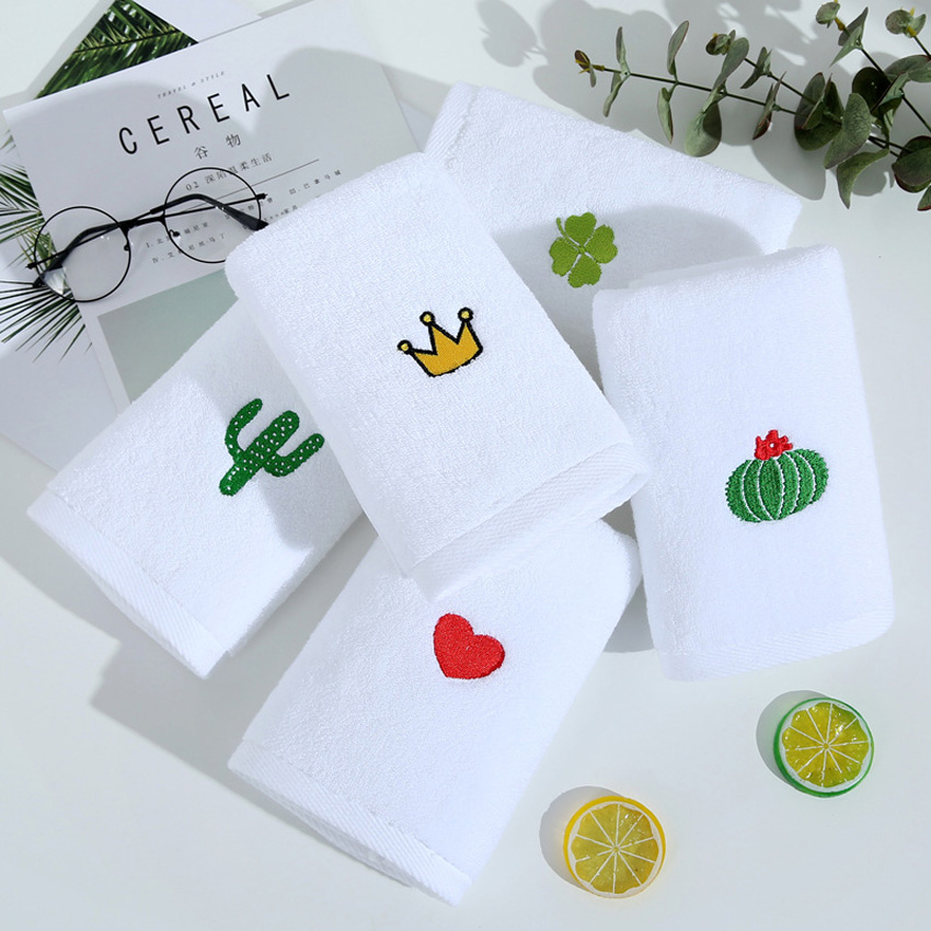 Nordic Towel Set Face Hand Towel Cactus Heart Embroidered Bath Shower Towels Bathroom White Cotton Adults Kids serviette de bain in Towel Sets from Home Garden