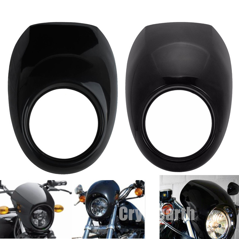 Motorcycle Fairing Cover Head Light Mask Visor Headlight Fairing Front Cowl Fork Mount For Harley Sportster Dyna Glide FX XL 883 red 5 3 4 motor vehicle headlight fairing bezel mask front visor cowl cover for harley cafe racer sportster dyna xl 883 3757