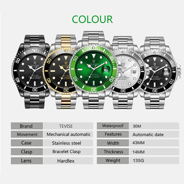 2017 Tevise Brand Men Mechanical Watch Automatic Role Date Fashione luxury Submariner Clock Male Reloj Hombre Relogio Masculino 1