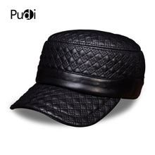 HL080 Mens genuine leather baseball cap hat brand new spring real military caps hats