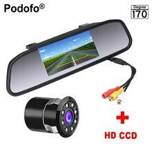 Podofo 4.3 дюймов автомобиля Зеркало заднего вида Мониторы заднего вида Камера CCD Видео Авто Парковочные системы 8 светодиодов Ночное видение Реверсивный