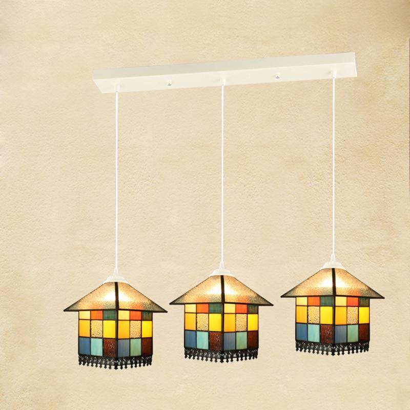 European Retro 3 Lights Chandeliers Fixture E27 Bulb Vintage Stained Glass Suspension Lamp Bar Restaurant Bedroom Lighting PL594