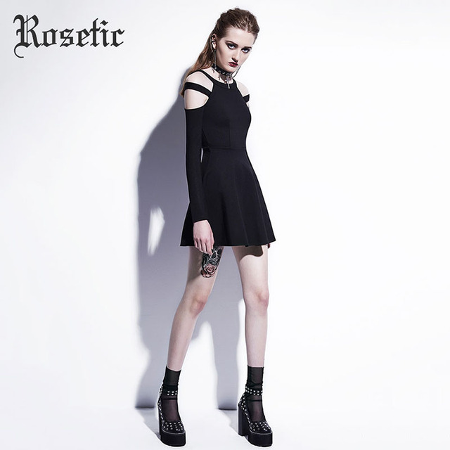 Rosetic Gothic Mini Dress Black Fashion Hollow Autumn Women Casual Dress Dark Street Wild Sexy Preppy A-Line Goth Mini Dresses 2