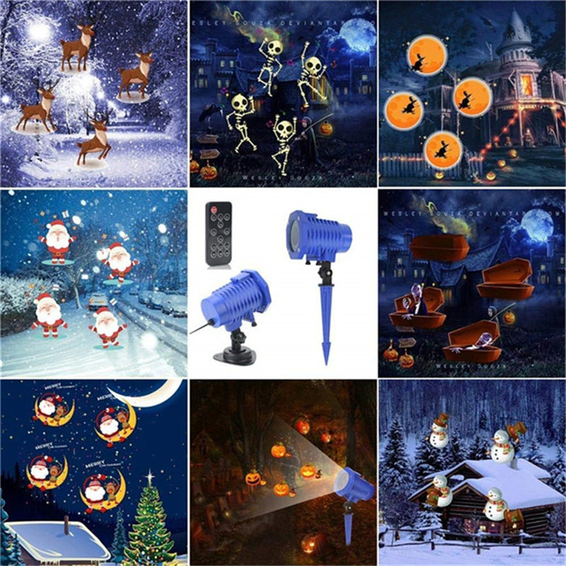 LED Animated Projector Light 8 Slides Waterproof Landscape lamp&Remote Control for Christmas Halloween Holiday Decoration informotion animated infographics