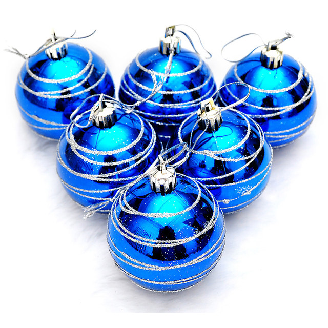 6pcs Christmas Tree Balls Blue Diameter 6cm Striped Color Drawing Decorations Ball Xmas Party Wedding Ornament 7