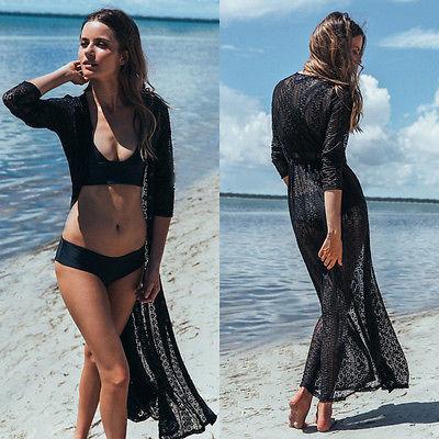 Women Floral Kaftan Lace Bikini Beach Cover Ups Long Maxi Dress Long Sleeve Sundress Cardigan Swimwear Beachwear Sunsuit