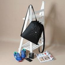 High Quality Drawstring Sports Shoe Dance Bag Schoolbag Black Printed Teenagers Backpack Drawstring Bag