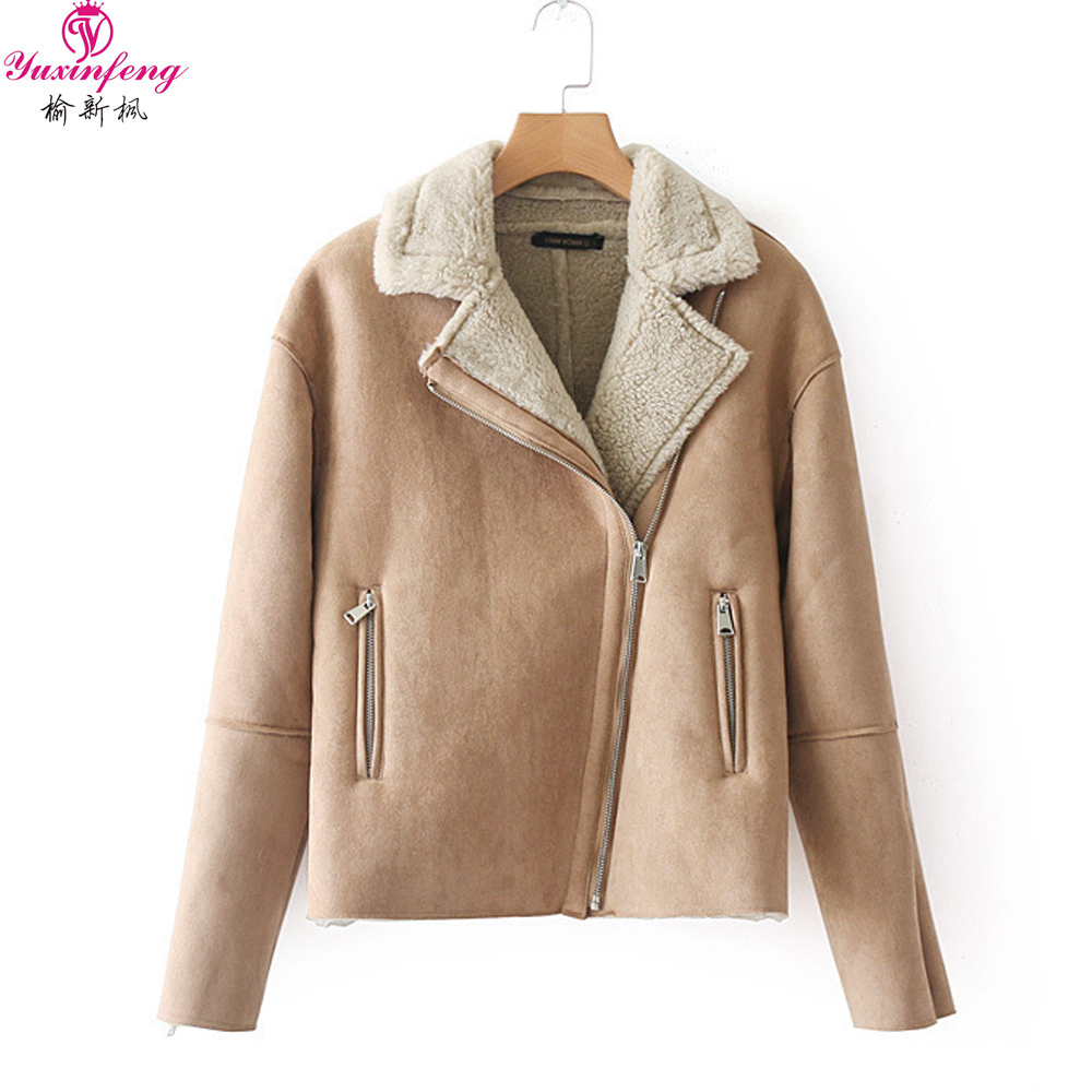 Yuxinfeng Winter   Suede     Leather   acket Women Turn Down Collar Long Sleeve Motorcycle Jackets Female Zipper Thick Lamb Wool Coat