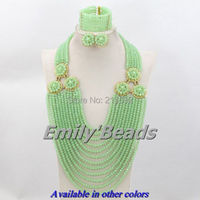2014 Fashionable Nigerian Wedding African Beads Jewelry Sets Costume Indian Bridal Necklace Jewelry Set Free Shipping