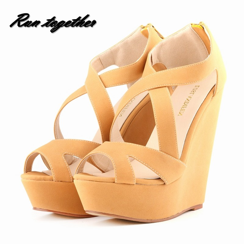 Loslandifen women high heels sandals shoes woman party wedding platforms wedge peep toe gladiator occident popular brand shoes