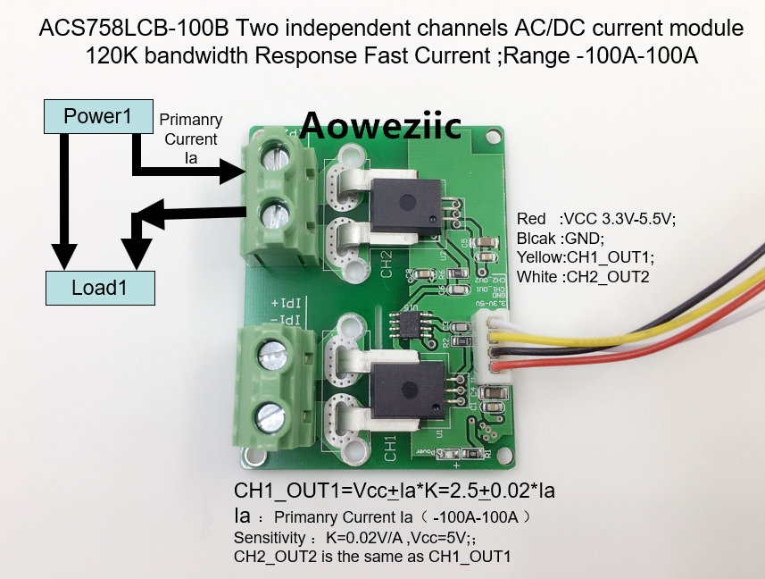 Aoweziic ACS758LCB-100B ACS758LCB ACS758 Two independent channels AC/ DC current detection module Rang:-100A-100A itead acs712 current sensor module dc ± 5a ac current detection module works w official arduino