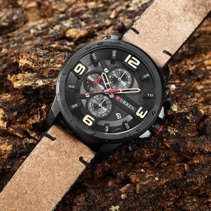 Image 2 - CURREN Fashion Design Male Clock Chronograph Men Sports Watches Waterproof Leather Strap Quartz Mens Watch Relogio Masculino