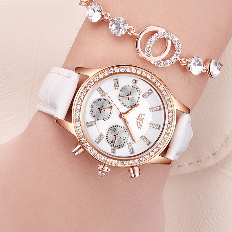 LIGE Fashion Brand Girl Diamond Dial Women Watches Luxury Golden Leather Ladies Watch Women Dress Clock Calendar Relogio Feminin