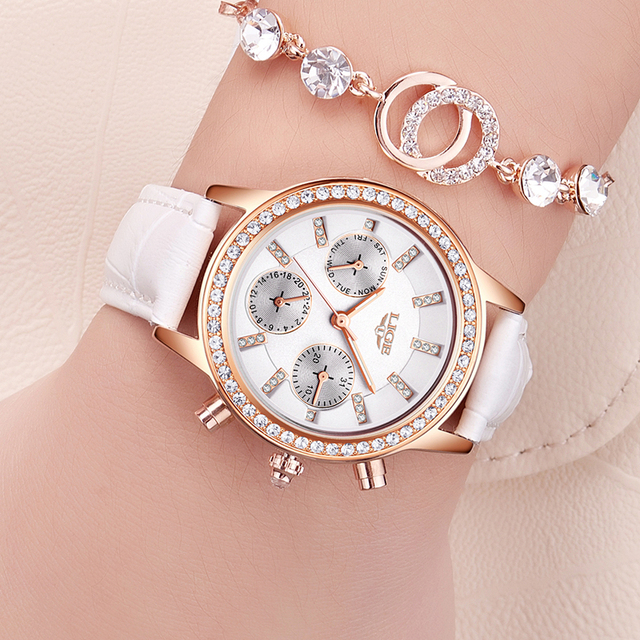 LIGE Fashion Brand Girl Diamond Dial Women Watches Luxury Golden Leather Ladies