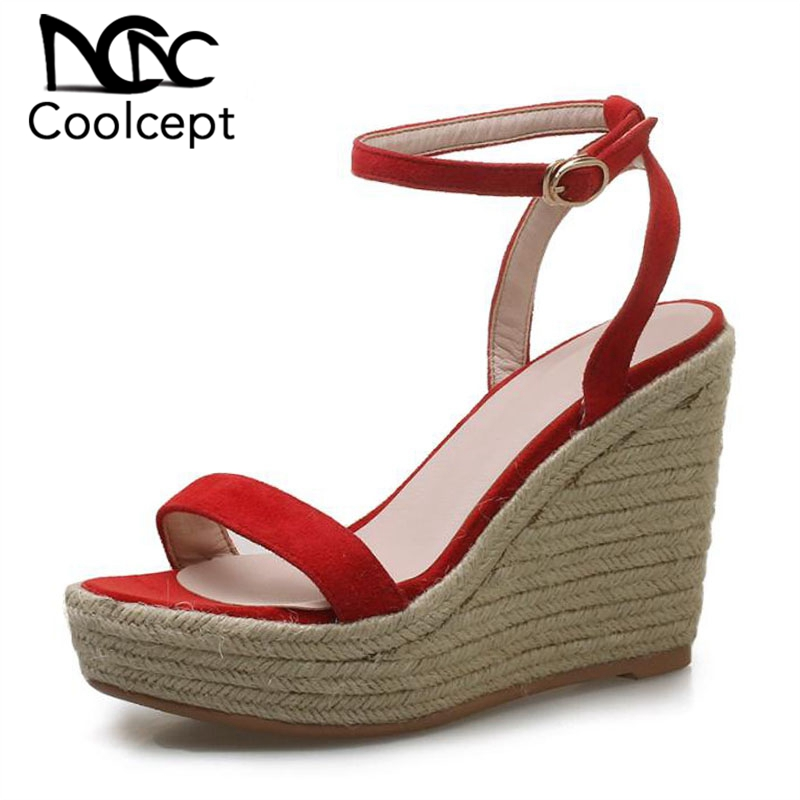 Coolcept Women Sandals Genuine Leather Wedges Round Toe Fashion Buckle Platform Shoes Fashion Mature Ladies Shoes