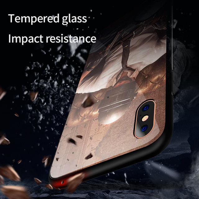 Luxury Phone Case Glass Back Cover Game Pattern