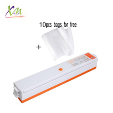 Free shipping food vacuum seal machine pack vacuo sealer packer for food packing sealing household included 10pcs free bags