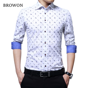 Image 3 - BROWON Spring Autumn 2020 Brand Luxury Men Shirt 100% Cotton Print Design Long Sleeve Slim Shirt for Man Floral 2018 Camiseta