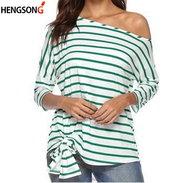 Stripe Sexy Slash Neck T-shirt Women Autumn Summer 3/4 Sleeve Casual Tops Female One Shoulder Lace-up Tees Loose T-shirt