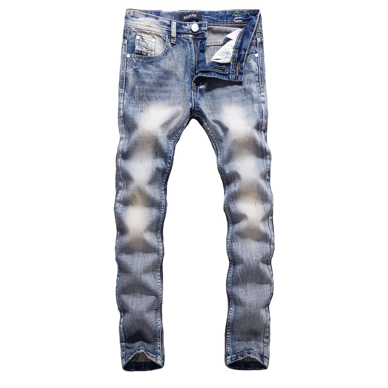 Fashion Designer Men Jeans Blue Color Cotton Denim Pants Hombre Straight Fit Vintage Classical Jeans Men Simple Retro Long Jeans