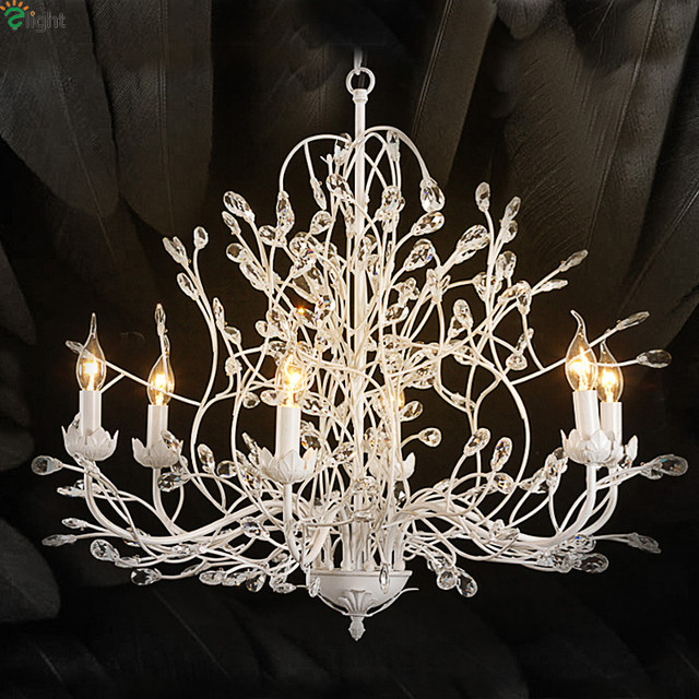 American Retro Iron Branch Led Pendant Chandeliers Re Crystal Dining Room Chandelier Lighting Hanging Lights Fixture