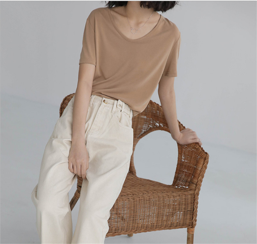MLCRIYG The new spring 2018 basic loose pure color v-neck modal t-shirts with short sleeves
