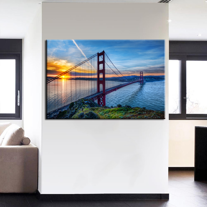 Home Decor Room Wall Poster 1 PCS Sunrise at SanFrancisco Golden Gate Bridge Painting Art Frame Modular Picture Canvas HD Prints image