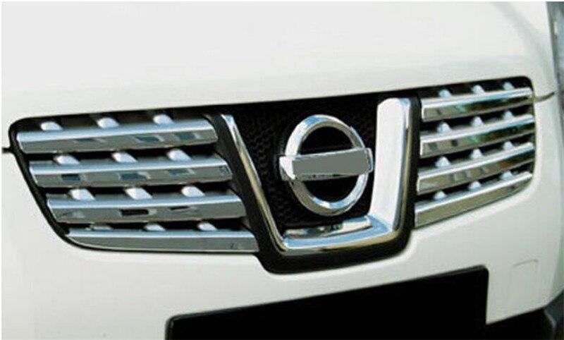 Gril D'avant de Chrome D'ABS revêtement d'habillage Avant Center Grill Garnitures 8 pièces Pour Nissan Qashqai J10 2006 2007 2008 2009