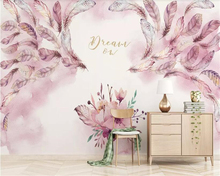 beibehang Custom size modern minimalist 3D embossed hand-painted watercolor feather flower lily beautiful wall behang wallpaper