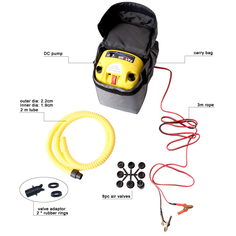 Free shipping high pressure DC 12V electric air pump for inflatable boat dinghy raft sup surf