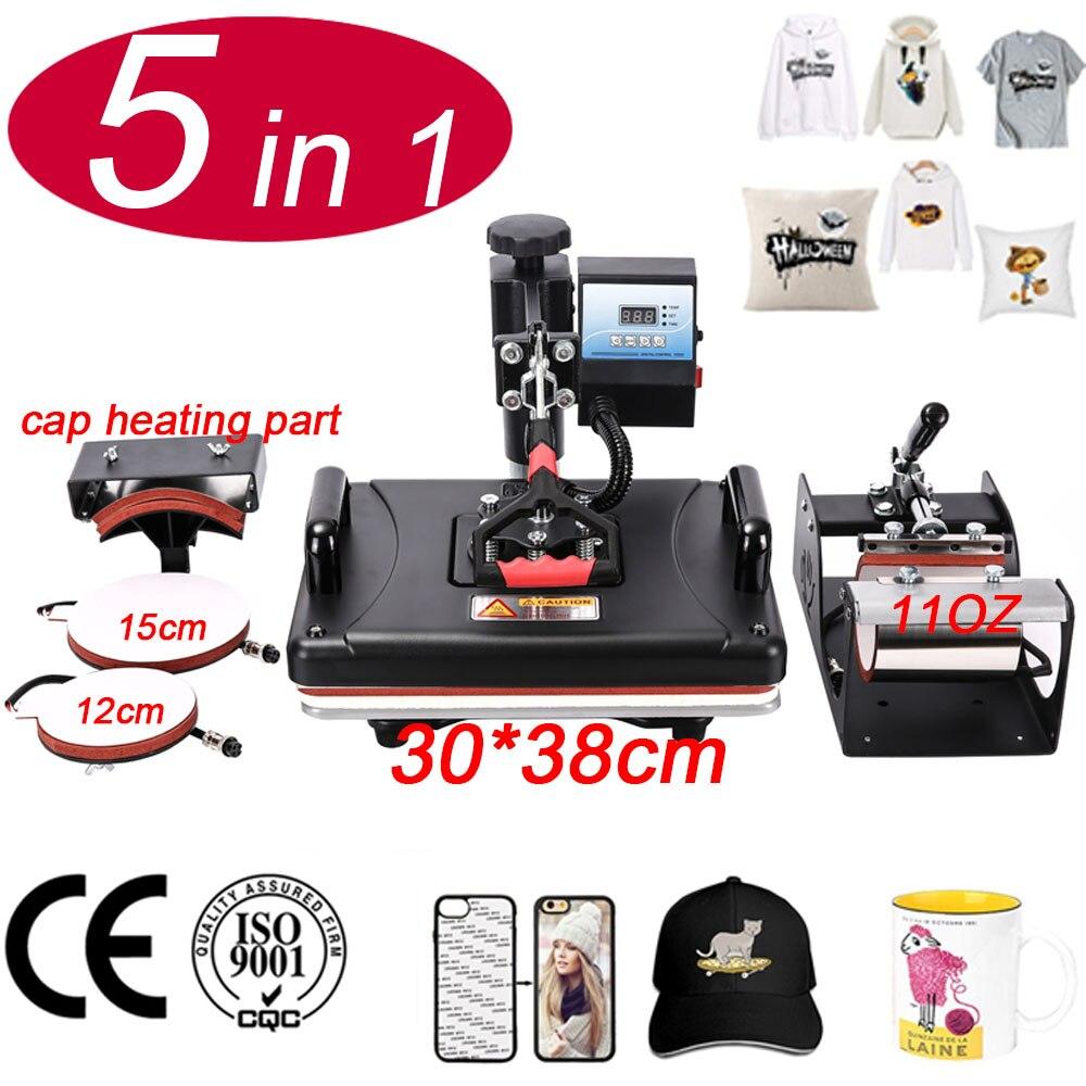 30 38CM 5 in 1 Combo Machine 2D Sublimation Vacuum Heat Press Printer