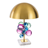 Modern marble table lamps colorful and clear glass crystal ball table light for living room bedroom study deco LED reading light