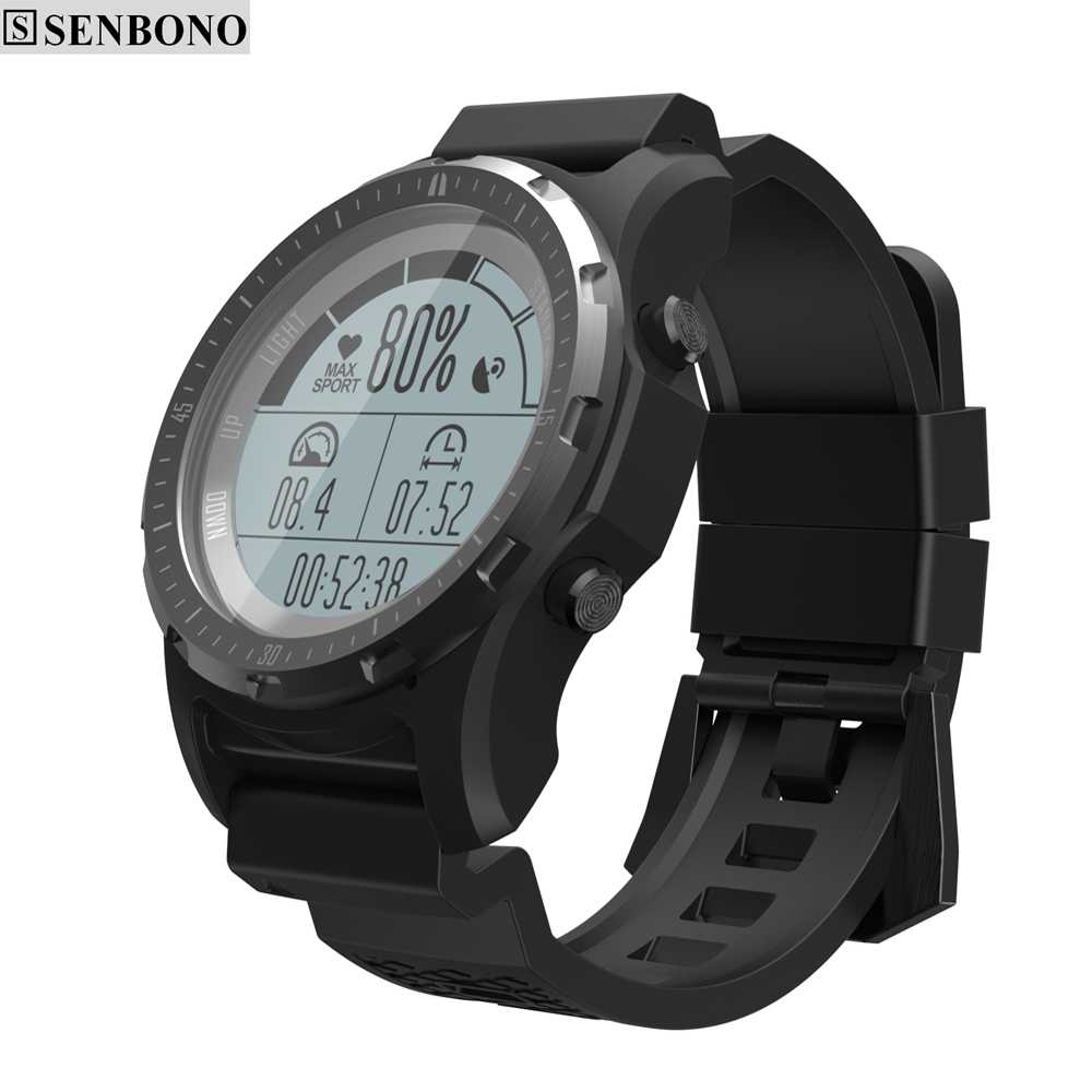SENBONO S966 GPS Smart Watch waterproof Smartwatch Heart Rate Monitor Temperature Multi sport Men Compass Running