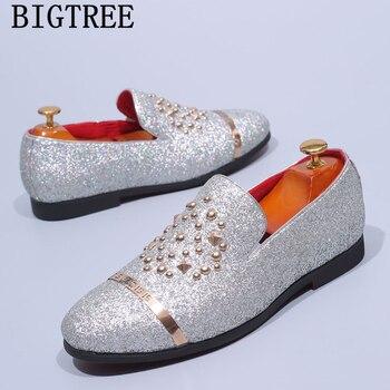 italian fashion glitter loafers men new arrival 2019 coiffeur wedding dress formal shoes men elegant party shoes men classic 1