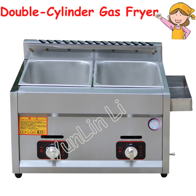 Double Cylinder Gas Fryer Two Tanks Gas Frying Machine Energy Saving Fryer Stainless Steel French Fries Machine JX-11